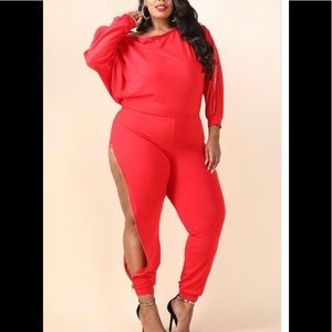 Pants - Plus size jumpsuit in colors :red or black